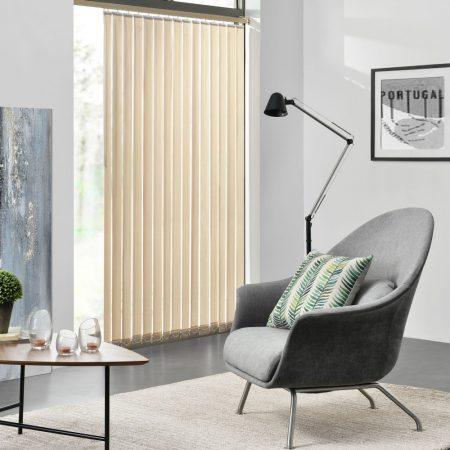 Szalagfüggöny 150 cm széles drapp lamellás függöny A 250 cm hosszú lamellák szabadon rövidíthetők, p