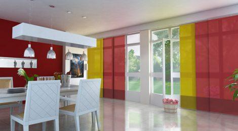 Designer szalagfüggöny 280 cm széles 250cm hosszú, szabadon rövidíthető 60cm széles lamellákkal enyh