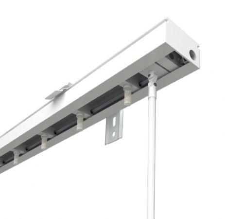 Szalagfüggöny karnis 8,9 cm széles lamellákhoz, 200 cm széles fehér színű rácsos kialakítás