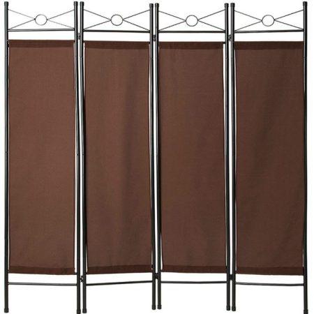 Térelválasztó harmonika beltéri paraván 180 cm magas barna színben könnyen felállítható