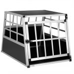 Dogbox alumínium kutya szállító autóba praktikus mobil autós ketrec szimpla 70x54x51cm