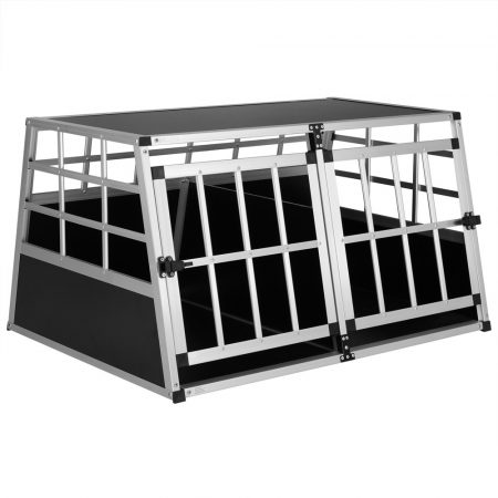 Dogbox alumínium kutya szállító autóba praktikus mobil autós ketrec dupla 98x70x51cm