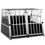 Dogbox alumínium kutya szállító autóba praktikus mobil autós ketrec dupla 97x90x70cm