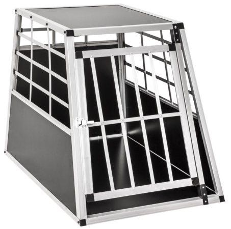 Dogbox alumínium kutya szállító autóba praktikus mobil autós ketrec szimpla 65x90x69,5 cm függőleges