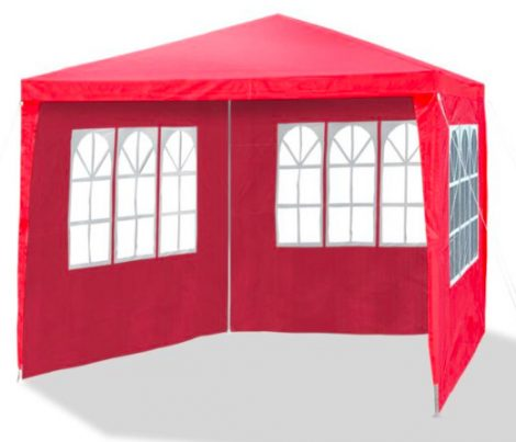 Kerti pavilon oldalfóliával 3x3 m kerti party sátor összecsukható sörsátor pergola piros színben