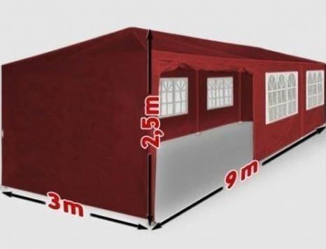 Fóliasátor kerti sátor 8 oldalsó fóliával 3x9 m kerti partysátor összecsukható pavilon piros színben