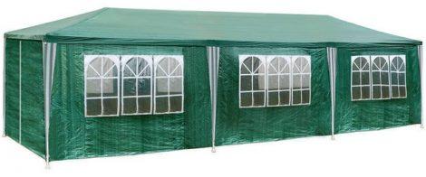 Fóliasátor kerti sátor 8 oldalsó fóliával 3x9 m kerti partysátor összecsukható pavilon több színben