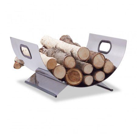 Dekoratív tűzifakosár rozsdamentes acélból fogantyúval