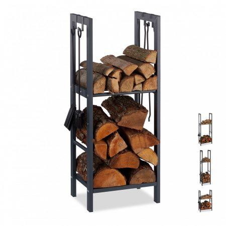 Tűzifa tároló 2 polccal 100 x 40 x 30 cm beltéri és kültéri használatra