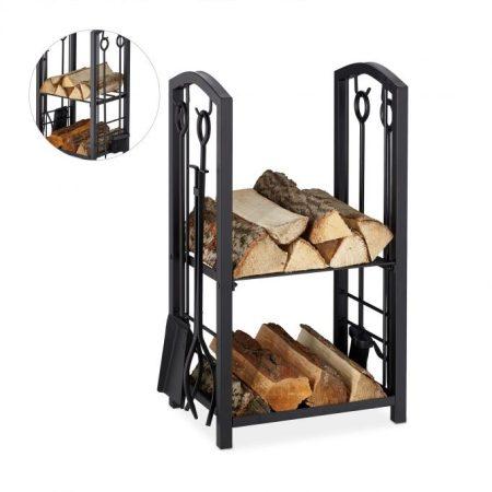 Tűzifa tároló 2 polccal és 4 részes kandallóeszközökkel