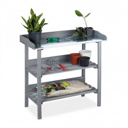 Növény ültető asztal szürke színben, fém munkapult és 2 polccal