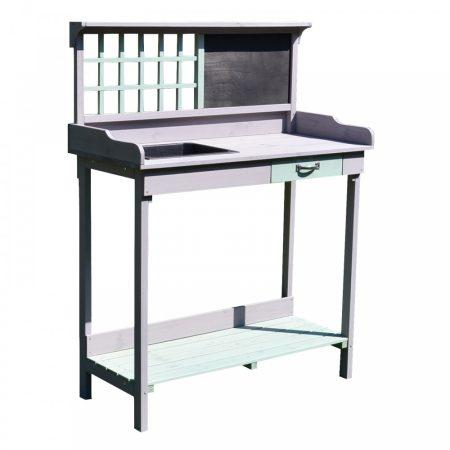 Ültető asztal, kerti asztal fiókkal 92 x 42,5 x 119,5 cm szürke-mentazöld színben