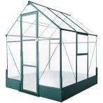 Kerti üvegház 190x190x220 cm polikarbonát lappal melegház alumínium vázzal