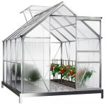 Melegház aluminium keretes polikarbonát üvegház 250x185x195cm 3,5 m²  horganyzott acél alappal