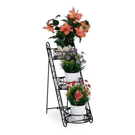 Beltéri és kültéri fém virágtartó állvány lépcsőzetes kialakítás fekete színben
