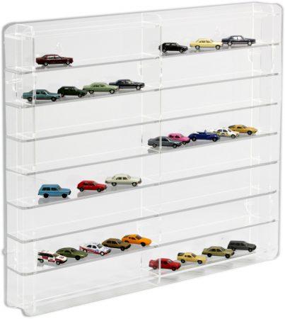 Modellautó vitrin, polc bemutató szekrény átlátszó akril 1:87 méretarányú modellekhez 50x7x46 cm