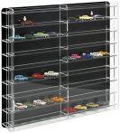 Modellautó vitrin, polc bemutató szekrény átlátszó akril 1:87 méretarányú modellekhez 50x7x46 cm fek