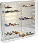 Modellautó vitrin, polc bemutató szekrény átlátszó akril 1:87 méretarányú modellekhez 50x7x46 cm tük