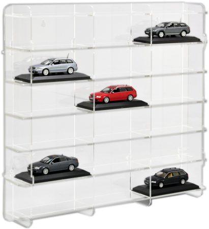 Modellautó vitrin, polc bemutató szekrény átlátszó akril 1:43 méretarányú modellekhez 50x7,5x46 cm