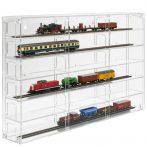 Modellvasút vitrin, polc bemutató szekrény átlátszó akril H0 méretarányú modellekhez átlátszó hátlap