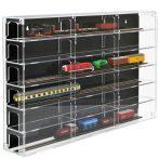 Modellvasút vitrin, polc bemutató szekrény átlátszó akril H0 méretarányú modellekhez fekete hátlappa