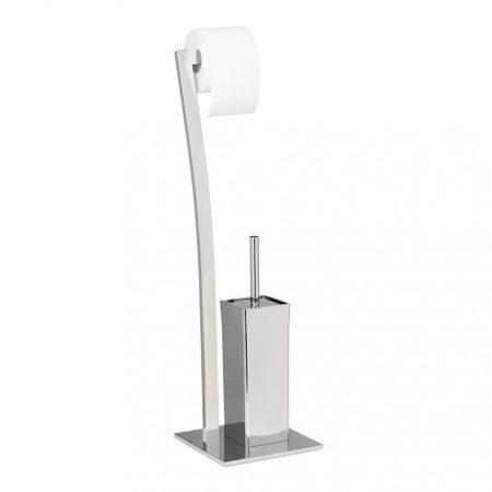 Álló WC kefe és WC papír tartó dekoratív kialakítású rozsdamentes acél 71 x 20 x 20 cm