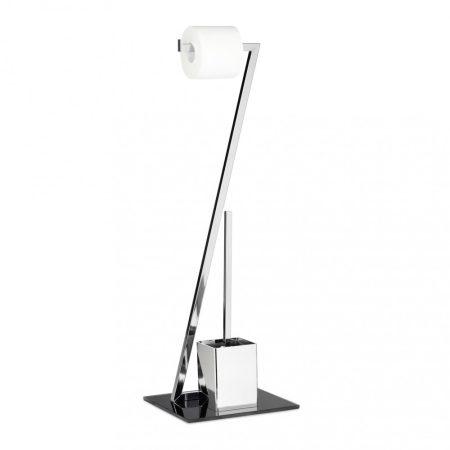 Modern WC kefe és WC papír tartó Z alakú krómozott fémből készült, edzett fekete üvegből és műanyagb