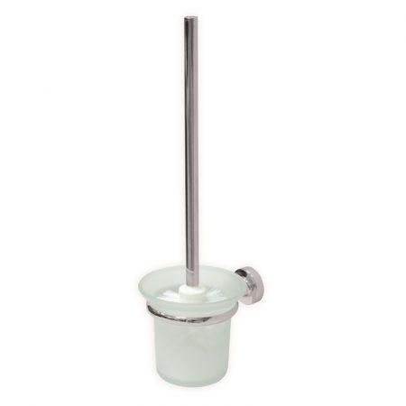 WC-kefetartó elegáns üveg, falra rögzíthető, krómozott réz