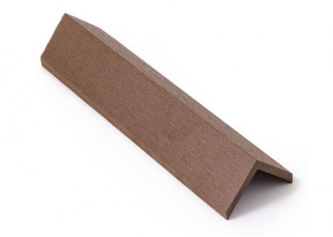 Élzáró WPC padlólap sarokléc 4,5x4,5x300 cm Fahatású dió takaróléc