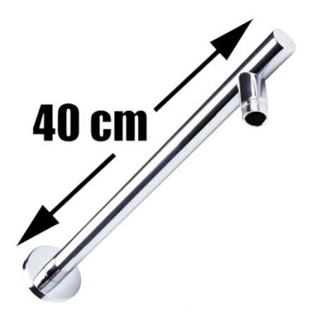 Zuhanyfej tartó oldalfalra kerek, 40 cm hosszú esőztető zuhanyzófejhez Zuhanyrózsa tartó cső