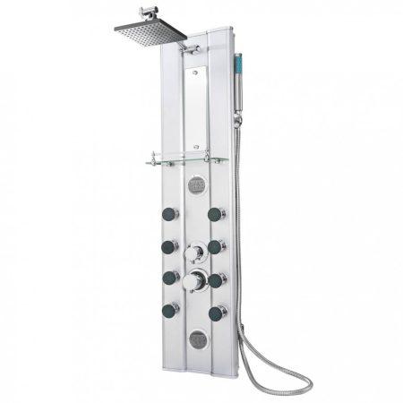 Luxus üveg zuhanypanel alumín ium házzal ozsdamentes acél zuhanycsővel masszázsfúvókákkal keverőcsap