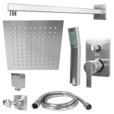 Zuhanyszett falba építhető falsík alatti csaptelep, rozsdamentes esőztetős zuhanyfej 20x20 cm