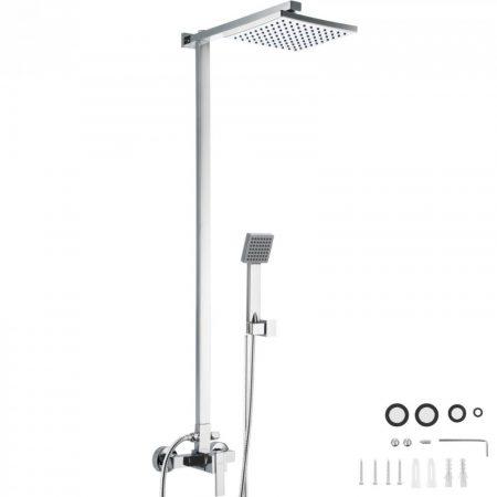 Zuhany szett esőztető zuhanyfej rozsdamentes 200x200 mm, kézi zuhanyfej