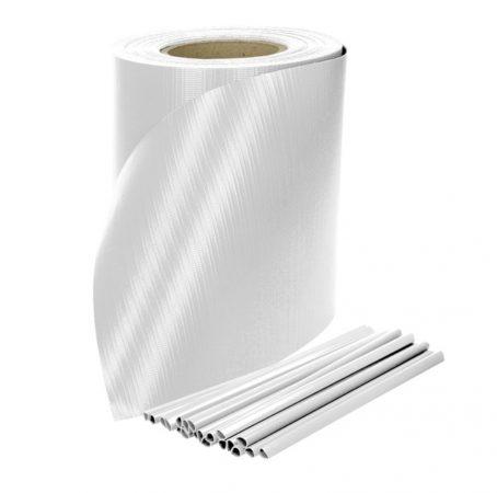 Keritésbe fűzhető PVC műanyag szalag 65m hosszú 19cm magas fehér belátásgátló szélfogó