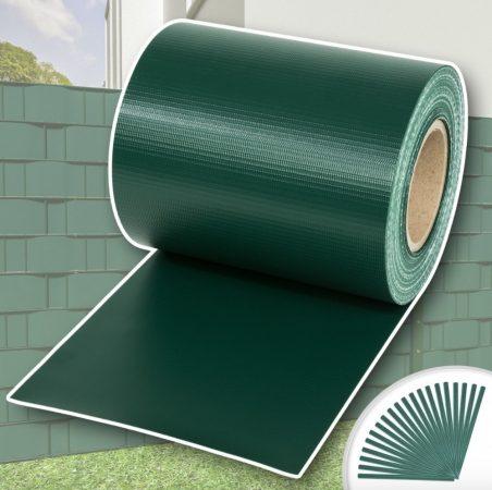 Keritésbe fűzhető PVC műanyag szalag 65m hosszú 19cm magas zöld belátásgátló szélfogó