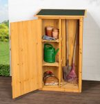 Fából készült kerti kisház fészer szekrény szerszámos kamra szekrény