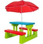 Gyerek műanyag kerti pad napernyővel egyben biztonságos kivitel